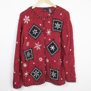 Red Snowflake Button Down Sweater Size 1X